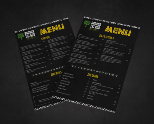 Banana Island Restaurant Menu Design London