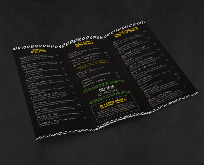 Banana Island Takeaway Menu Design London